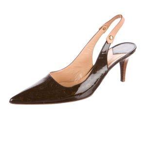 Louis Vuitton Gina brown monogram slingback heels